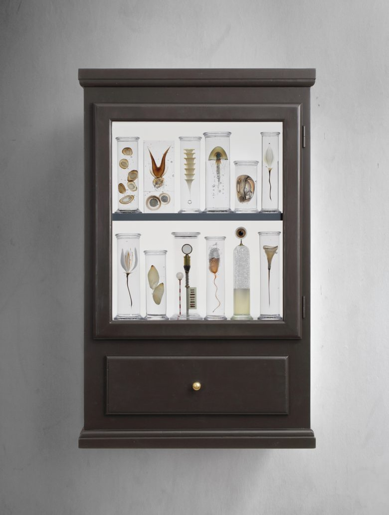 Cabinet with orrery in drawer.  h: 105 cm.